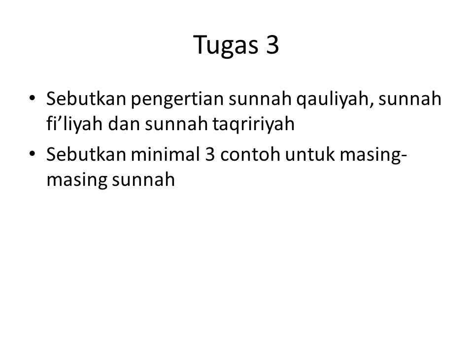 Tugas 3 Sebutkan pengertian sunnah qauliyah, sunnah fi'liyah dan sunnah taqririyah.