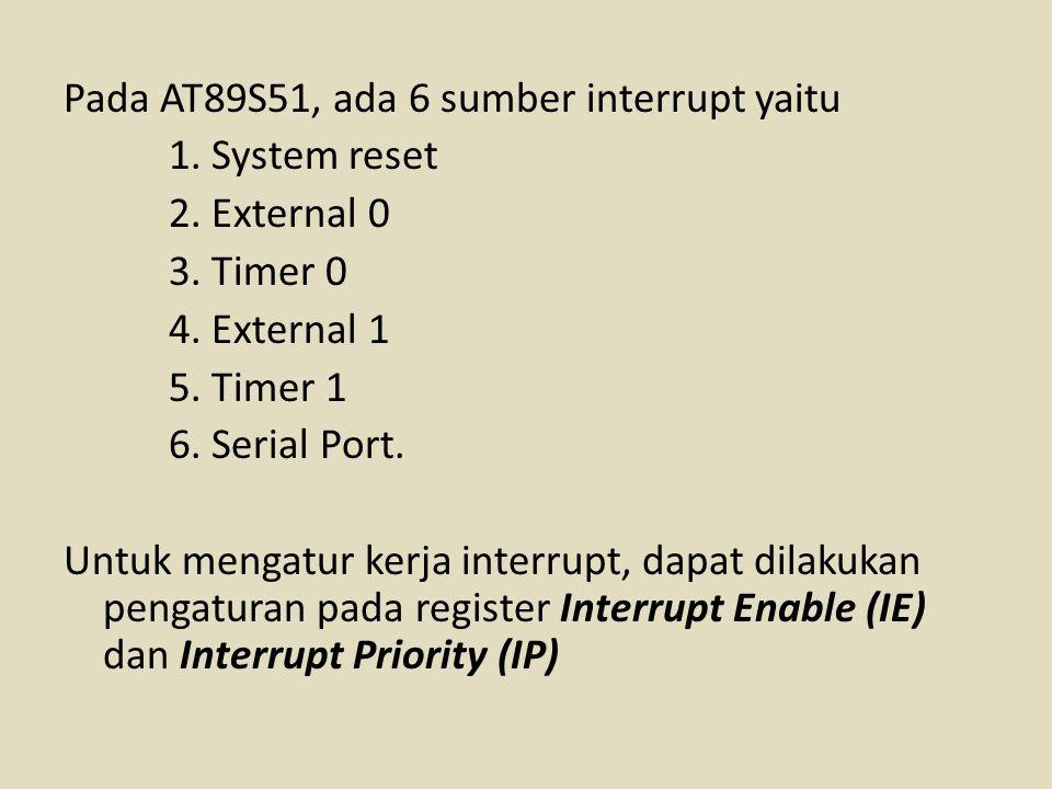 Pada AT89S51, ada 6 sumber interrupt yaitu 1. System reset 2