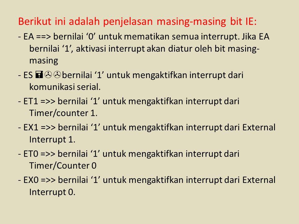 Berikut ini adalah penjelasan masing-masing bit IE: