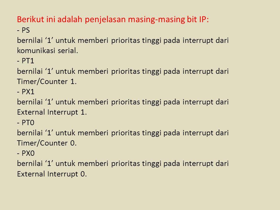 Berikut ini adalah penjelasan masing-masing bit IP: