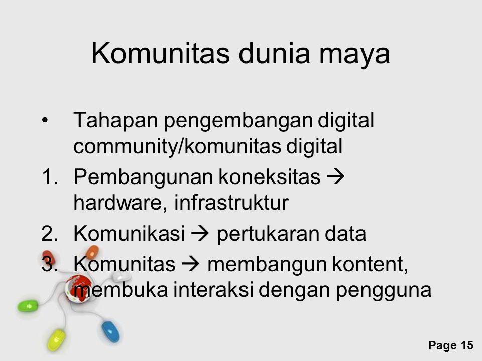 Komunitas dunia maya Tahapan pengembangan digital community/komunitas digital. Pembangunan koneksitas  hardware, infrastruktur.