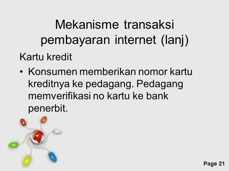 Mekanisme transaksi pembayaran internet (lanj)