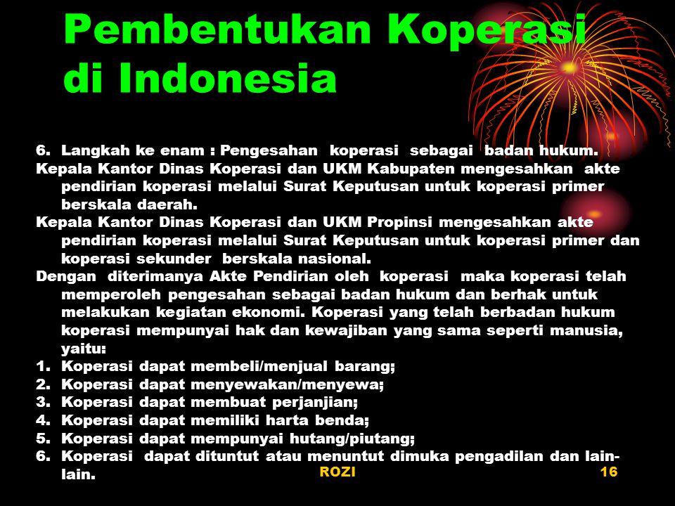 Pembentukan Koperasi di Indonesia