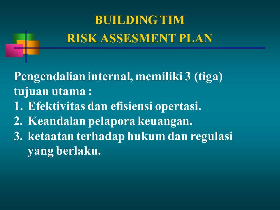 BUILDING TIM RISK ASSESMENT PLAN. Pengendalian internal, memiliki 3 (tiga) tujuan utama : Efektivitas dan efisiensi opertasi.