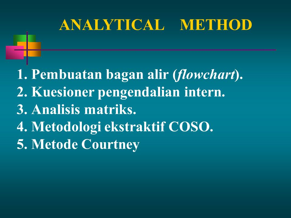 ANALYTICAL METHOD Pembuatan bagan alir (flowchart).