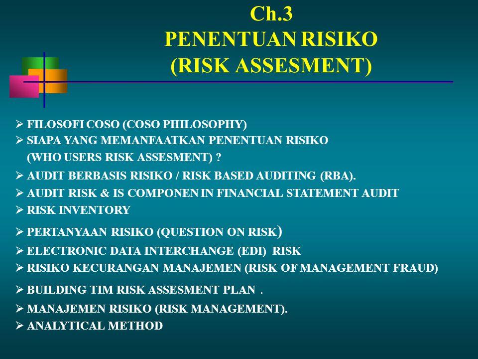 Ch.3 PENENTUAN RISIKO (RISK ASSESMENT) FILOSOFI COSO (COSO PHILOSOPHY)
