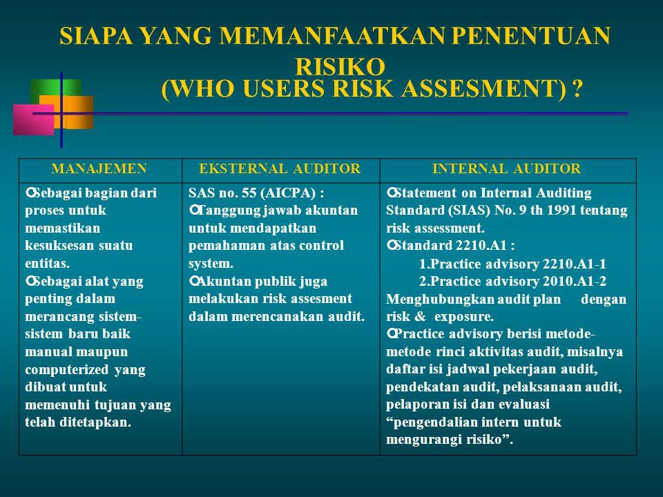SIAPA YANG MEMANFAATKAN PENENTUAN RISIKO (WHO USERS RISK ASSESMENT)