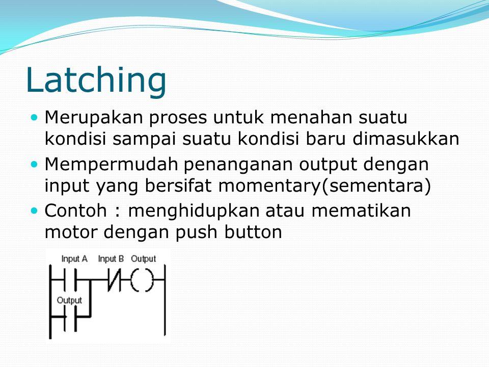 Latching Merupakan proses untuk menahan suatu kondisi sampai suatu kondisi baru dimasukkan.