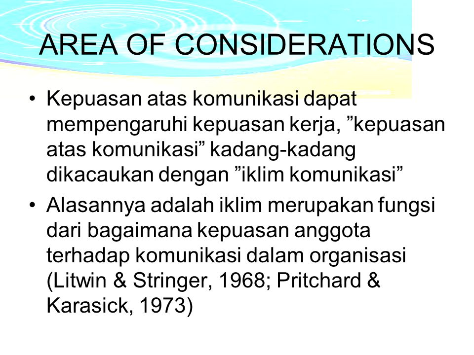 AREA OF CONSIDERATIONS