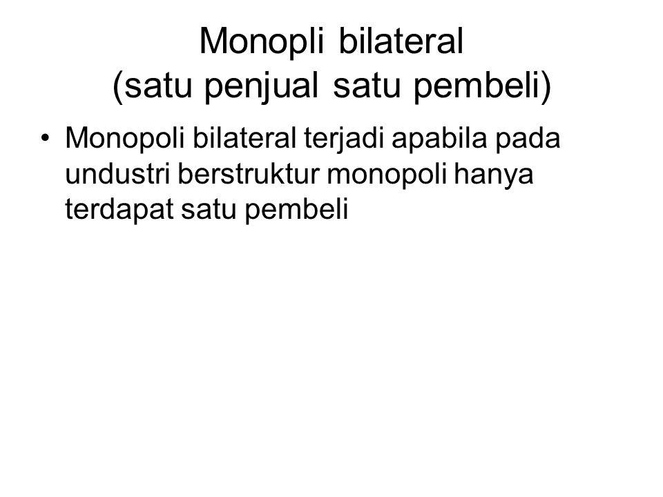 Monopli bilateral (satu penjual satu pembeli)