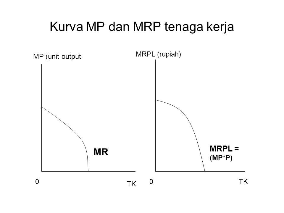 Kurva MP dan MRP tenaga kerja