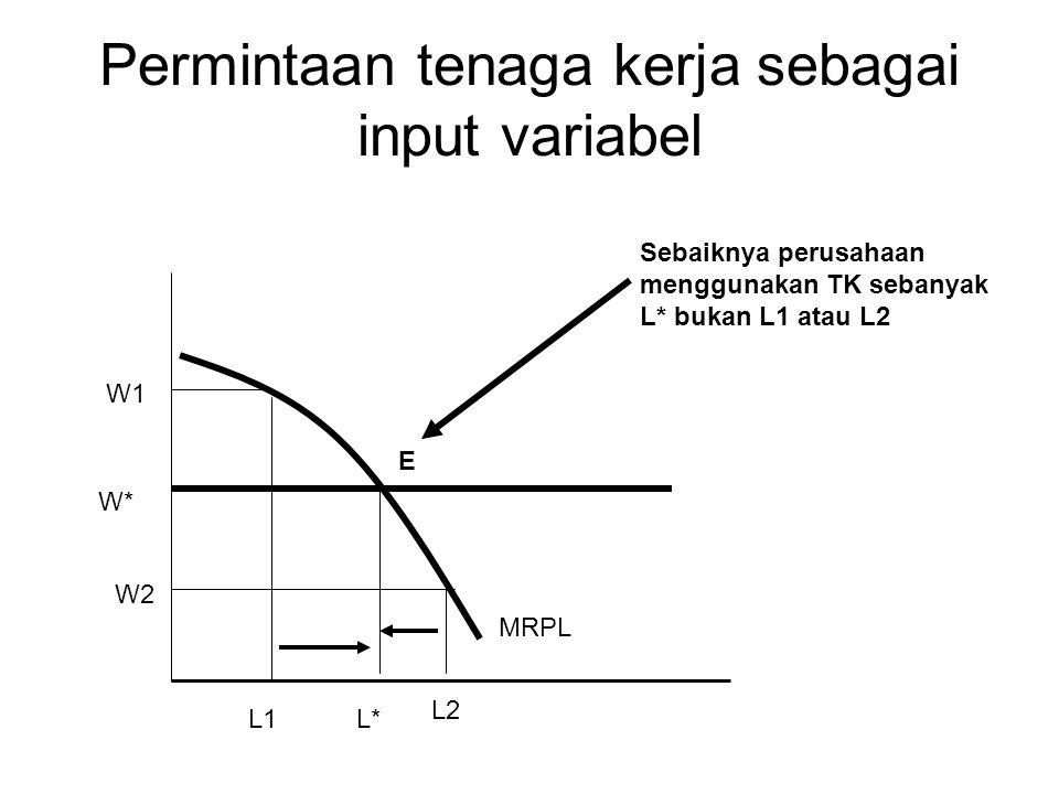 Permintaan tenaga kerja sebagai input variabel