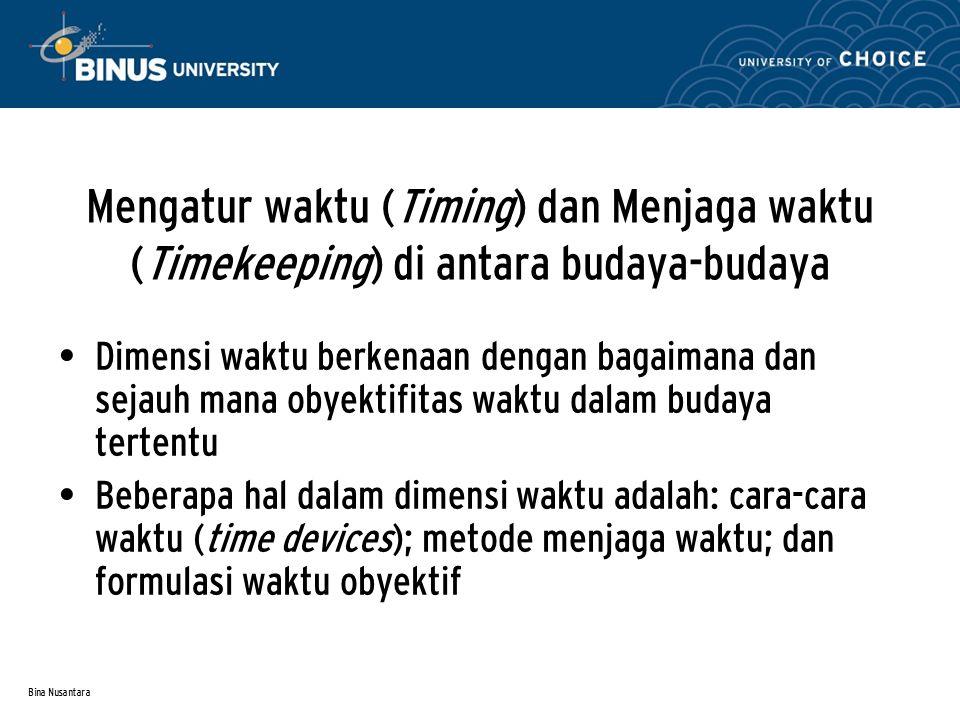Mengatur waktu (Timing) dan Menjaga waktu (Timekeeping) di antara budaya-budaya
