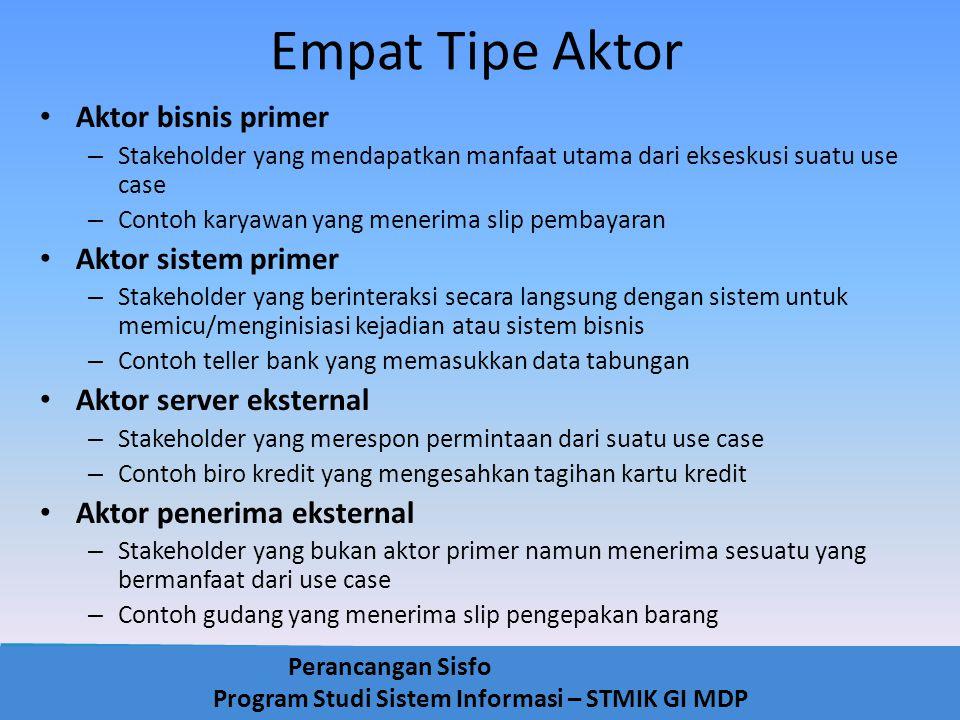 Empat Tipe Aktor Aktor bisnis primer Aktor sistem primer
