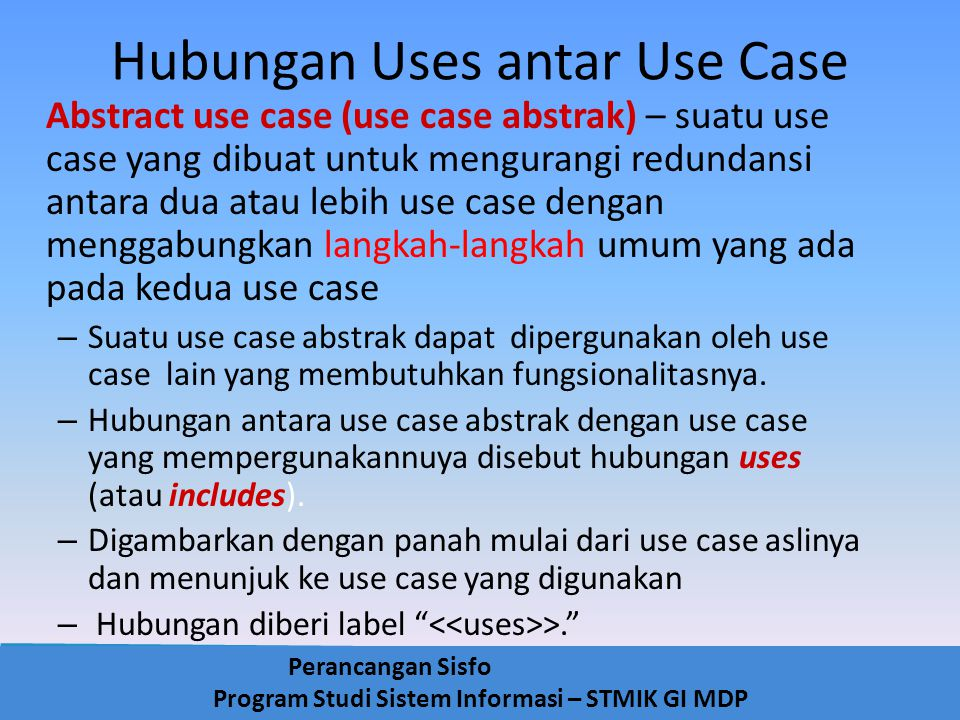 Hubungan Uses antar Use Case
