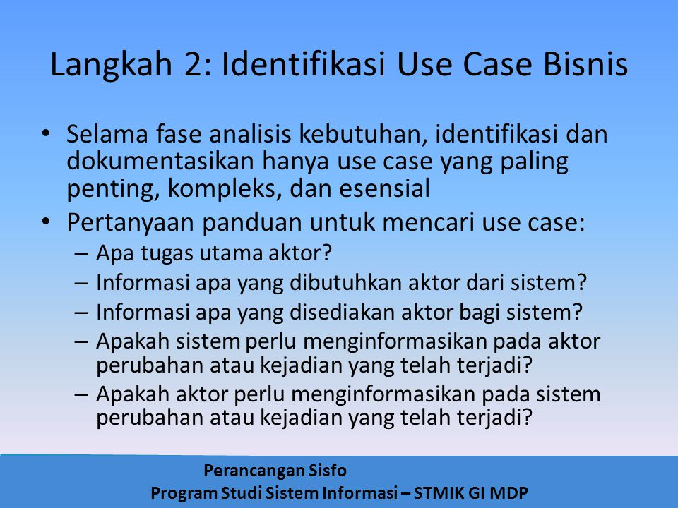 Langkah 2: Identifikasi Use Case Bisnis