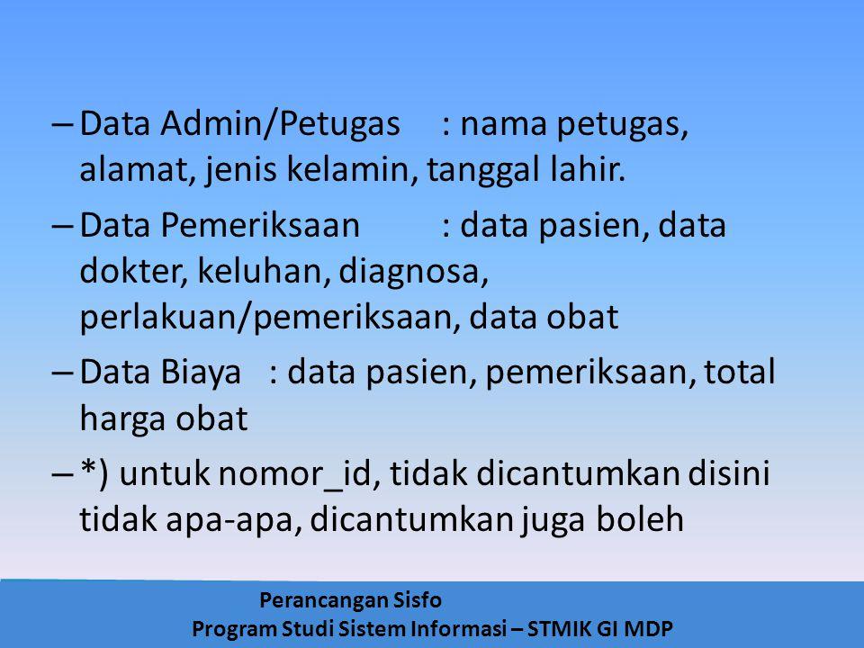 Data Admin/Petugas : nama petugas, alamat, jenis kelamin, tanggal lahir.