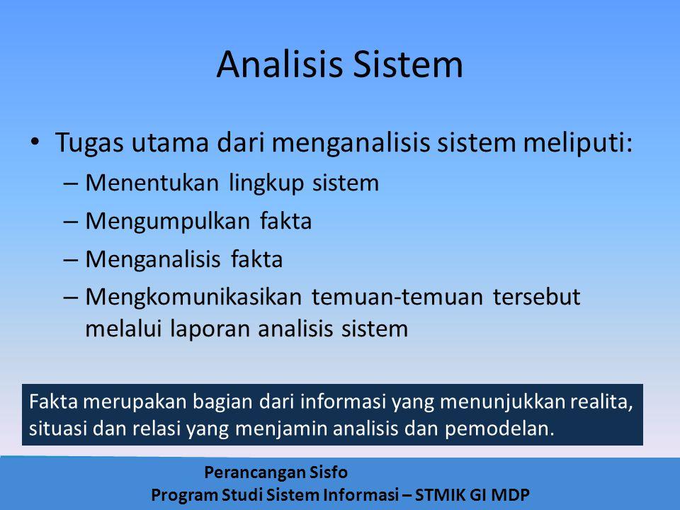 Analisis Sistem Tugas utama dari menganalisis sistem meliputi: