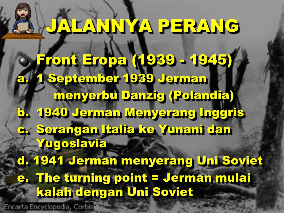JALANNYA PERANG Front Eropa (1939 - 1945) a. 1 September 1939 Jerman