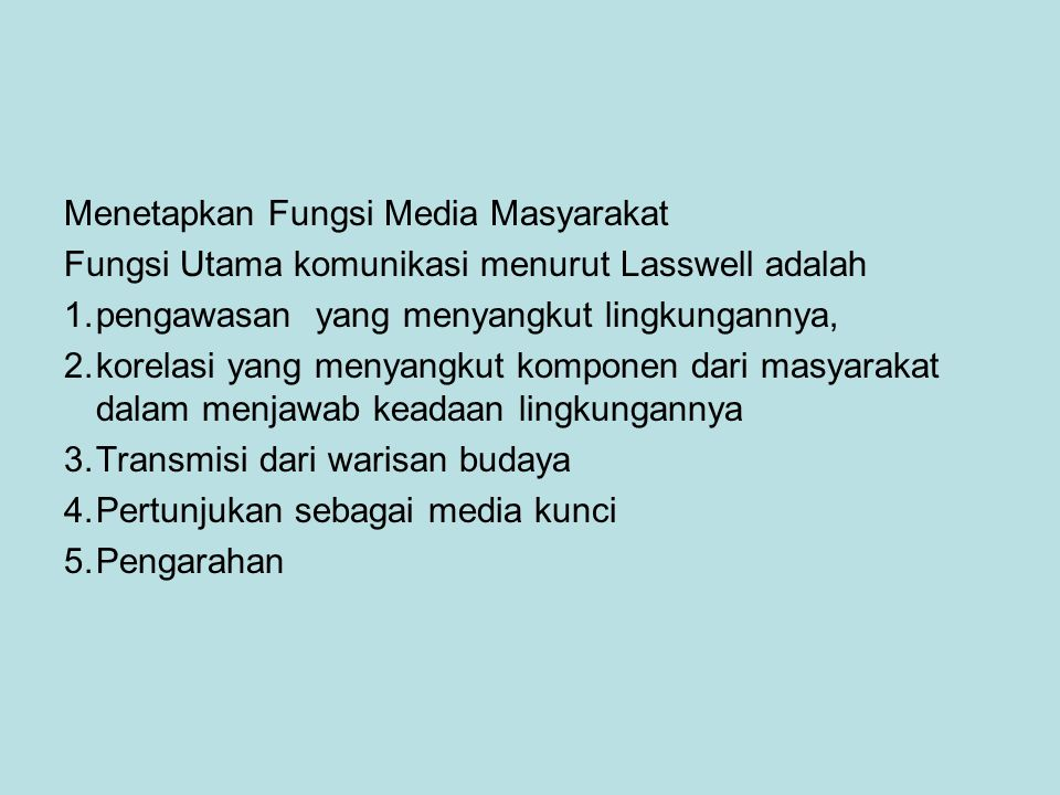 Menetapkan Fungsi Media Masyarakat