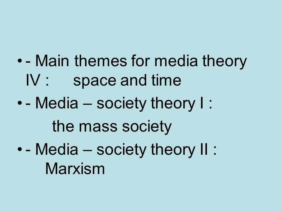 - Main themes for media theory IV : space and time