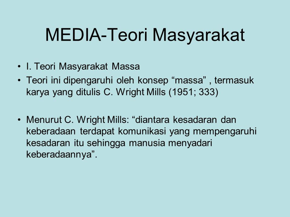 MEDIA-Teori Masyarakat