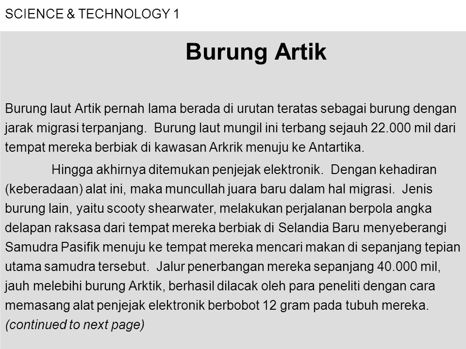 Burung Artik SCIENCE & TECHNOLOGY 1