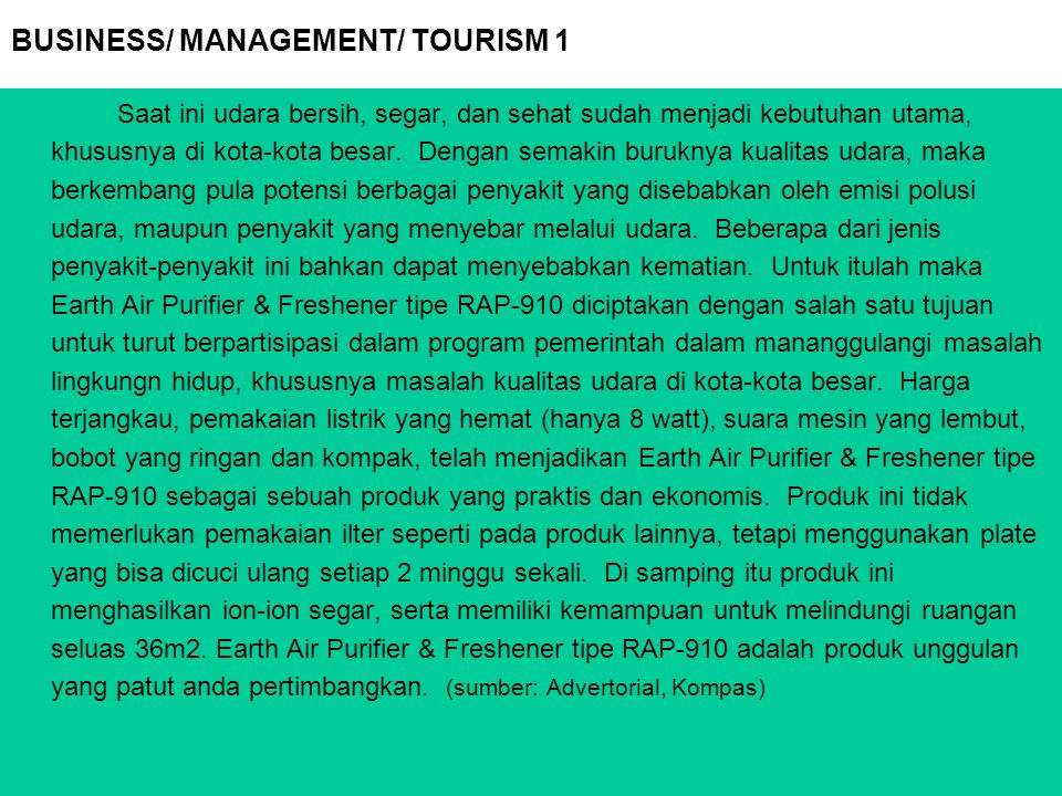BUSINESS/ MANAGEMENT/ TOURISM 1
