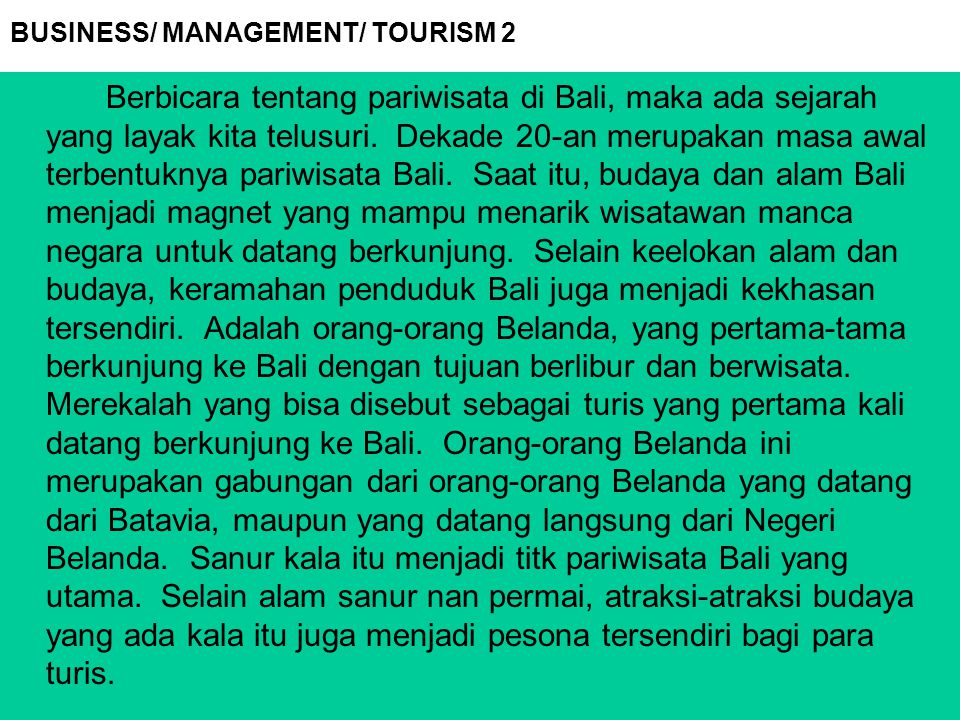 BUSINESS/ MANAGEMENT/ TOURISM 2