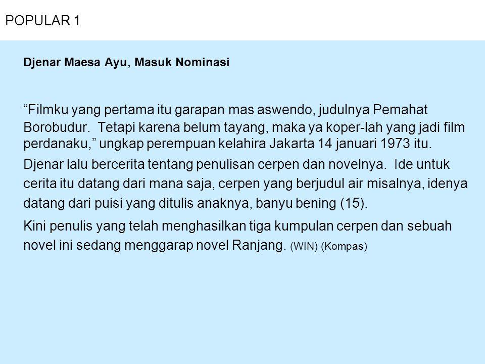 Djenar Maesa Ayu, Masuk Nominasi
