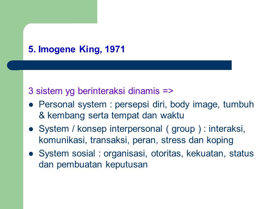 5. Imogene King, 1971 3 sistem yg berinteraksi dinamis => Personal system : persepsi diri, body image, tumbuh & kembang serta tempat dan waktu.