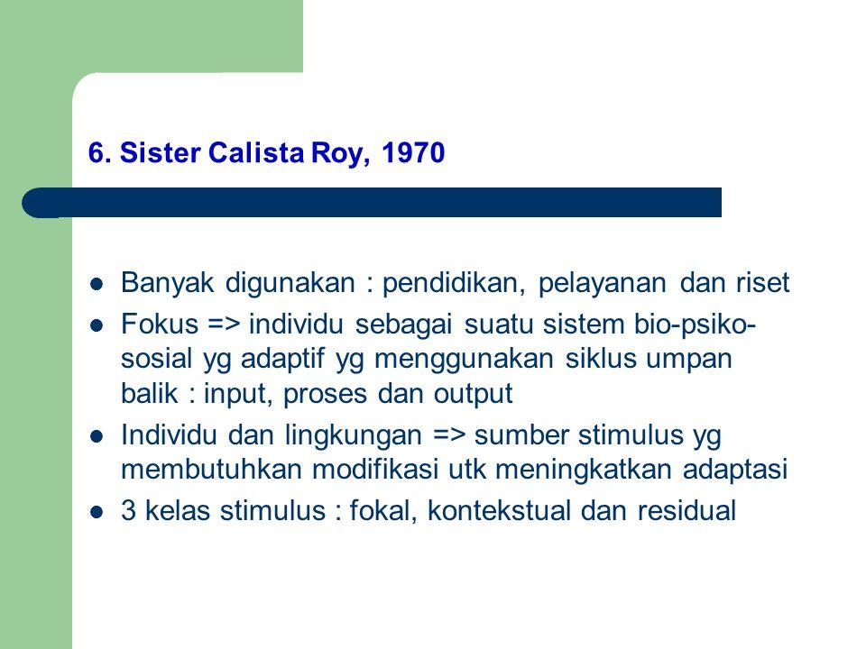 6. Sister Calista Roy, 1970 Banyak digunakan : pendidikan, pelayanan dan riset.