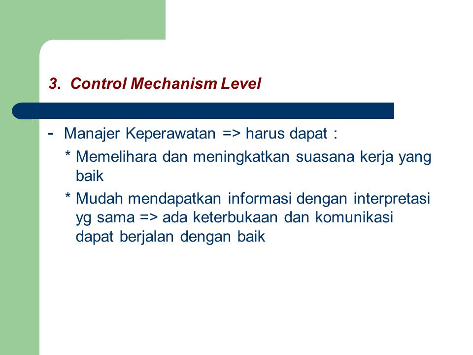 3. Control Mechanism Level