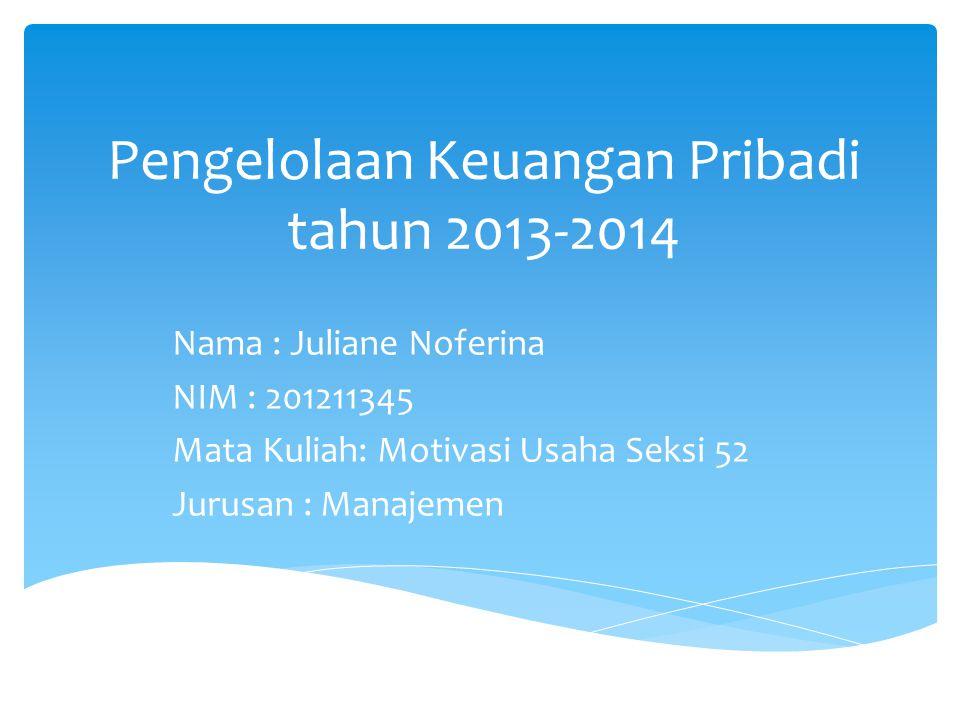 Pengelolaan Keuangan Pribadi tahun 2013-2014