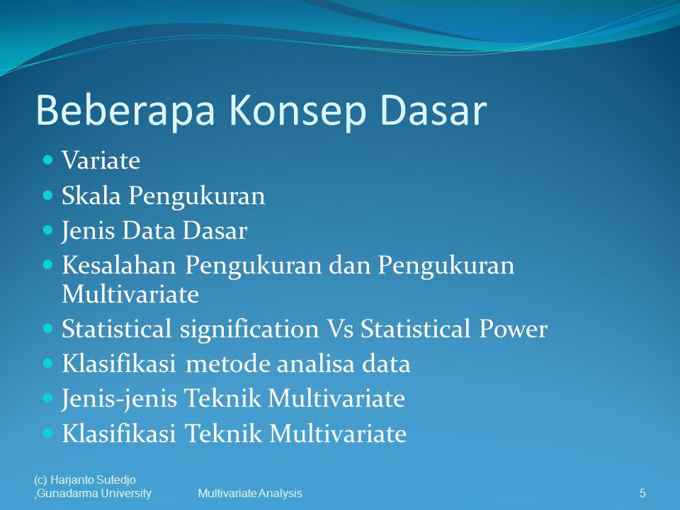 Beberapa Konsep Dasar Variate Skala Pengukuran Jenis Data Dasar