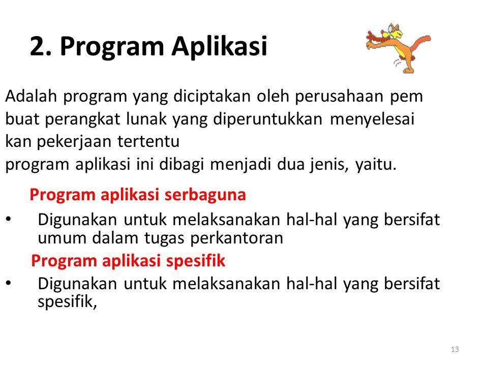 2. Program Aplikasi Program aplikasi serbaguna