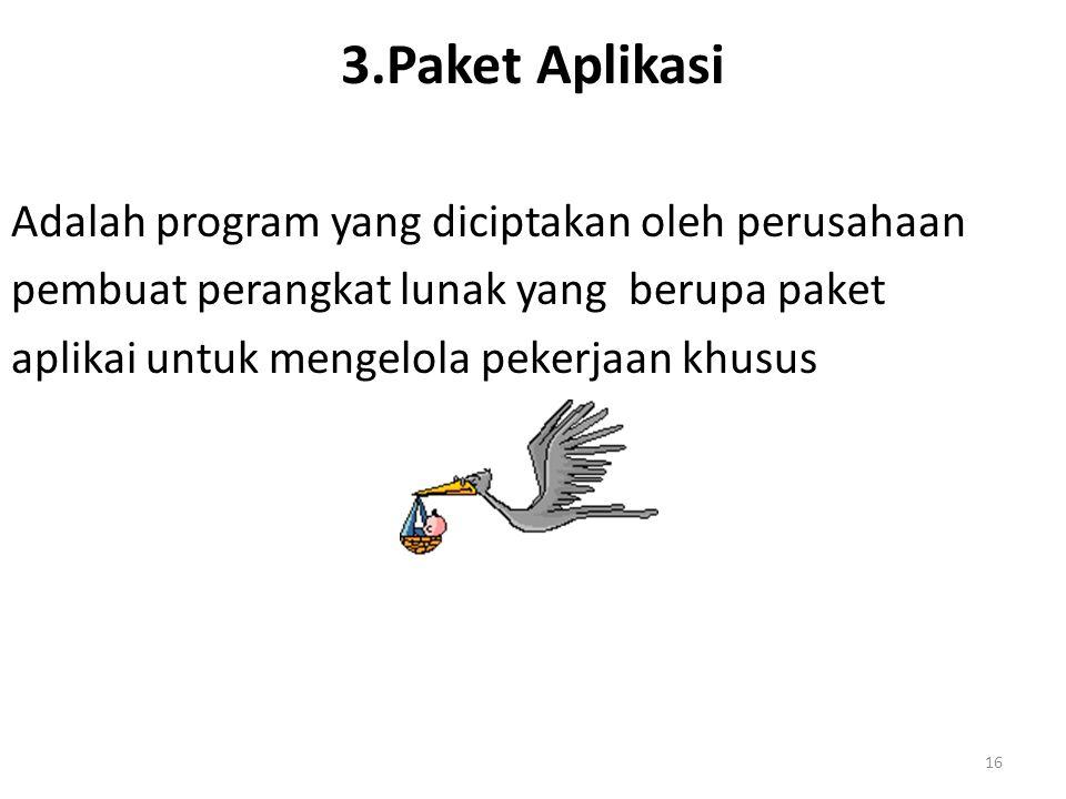 3.Paket Aplikasi Adalah program yang diciptakan oleh perusahaan