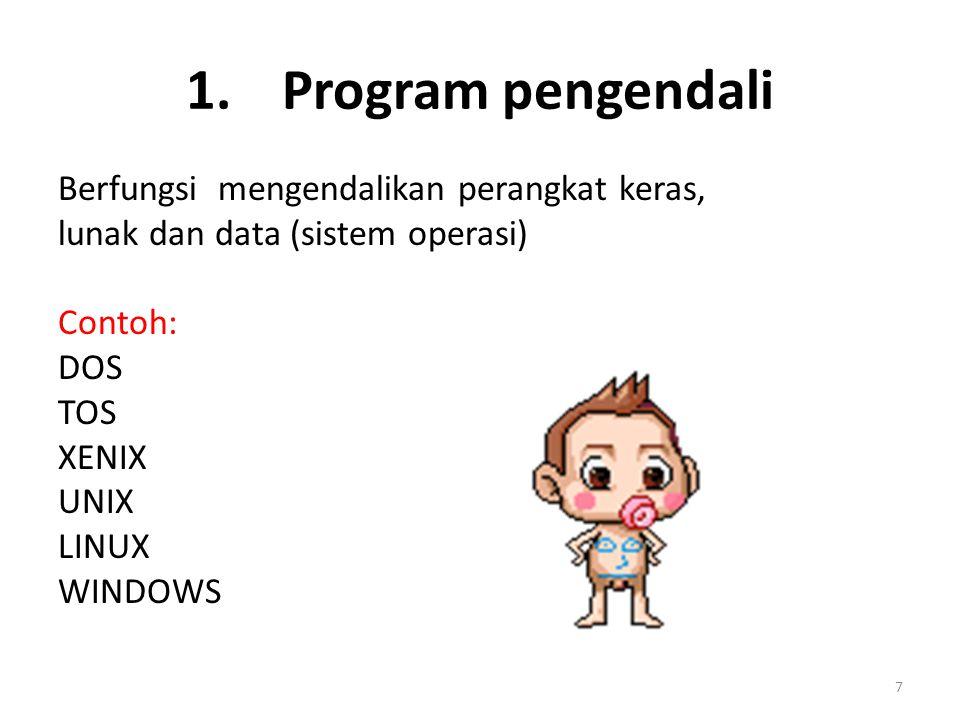 1. Program pengendali Berfungsi mengendalikan perangkat keras,