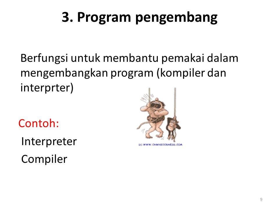 3. Program pengembang Berfungsi untuk membantu pemakai dalam mengembangkan program (kompiler dan interprter)