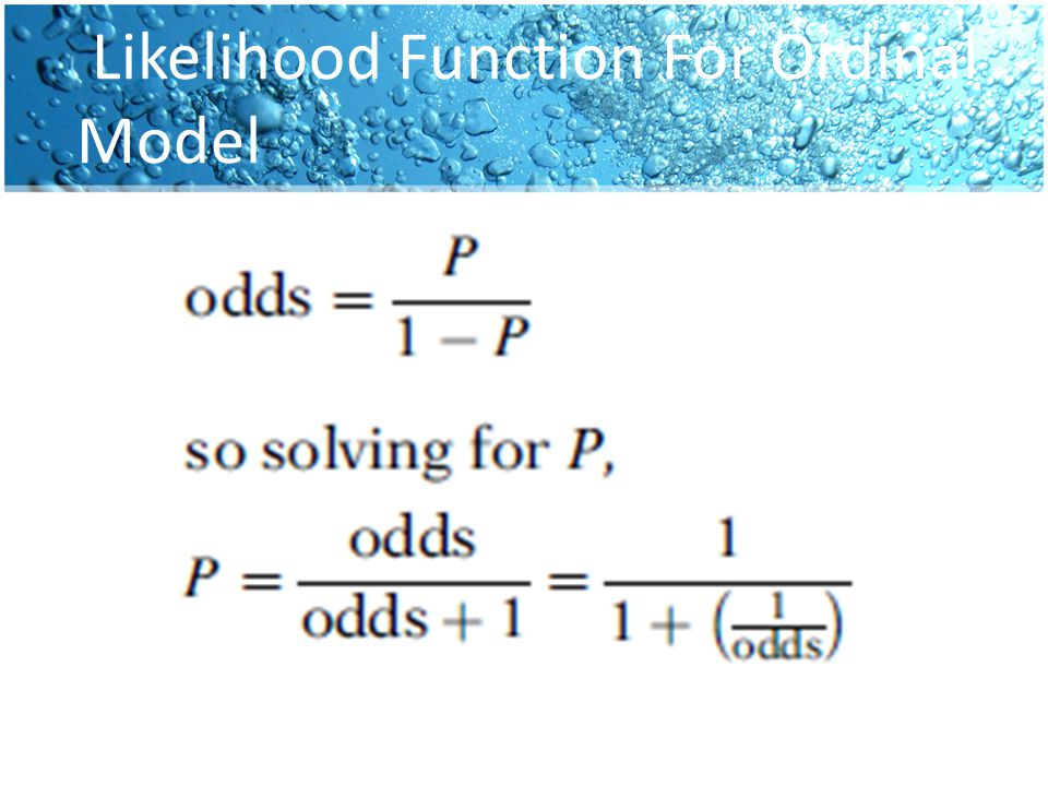 Likelihood Function For Ordinal Model