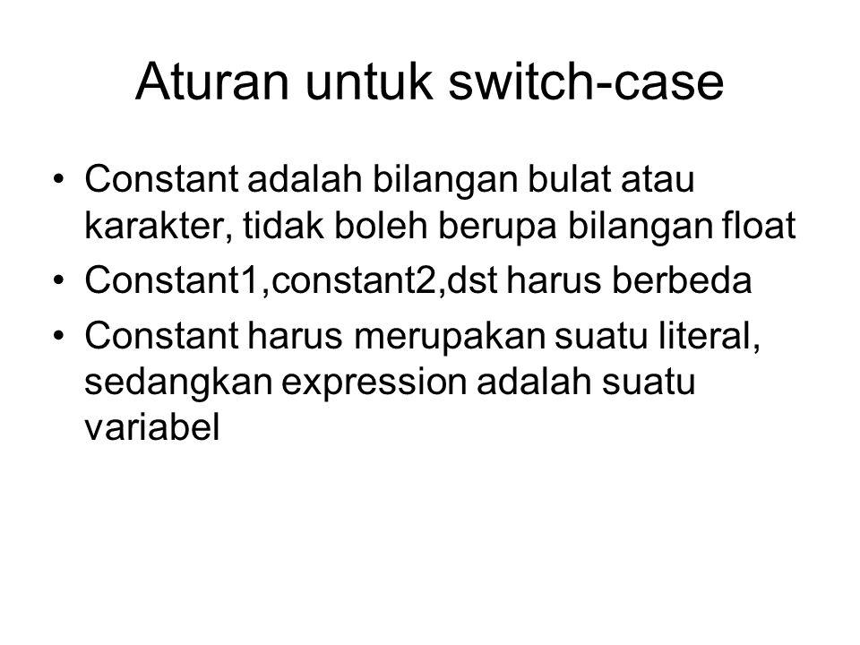 Aturan untuk switch-case