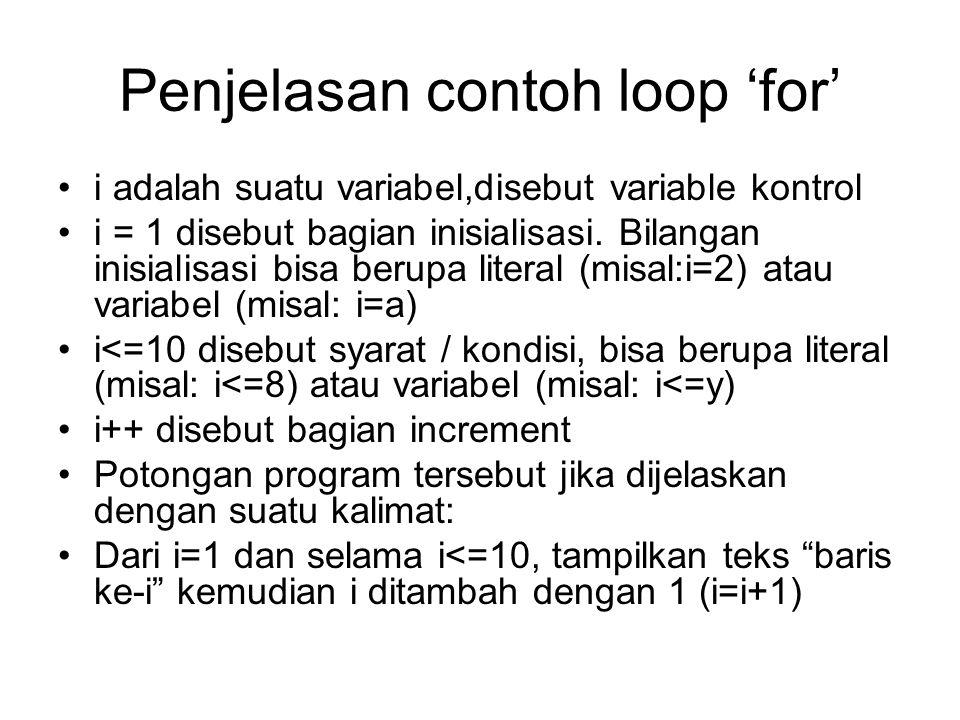 Penjelasan contoh loop 'for'