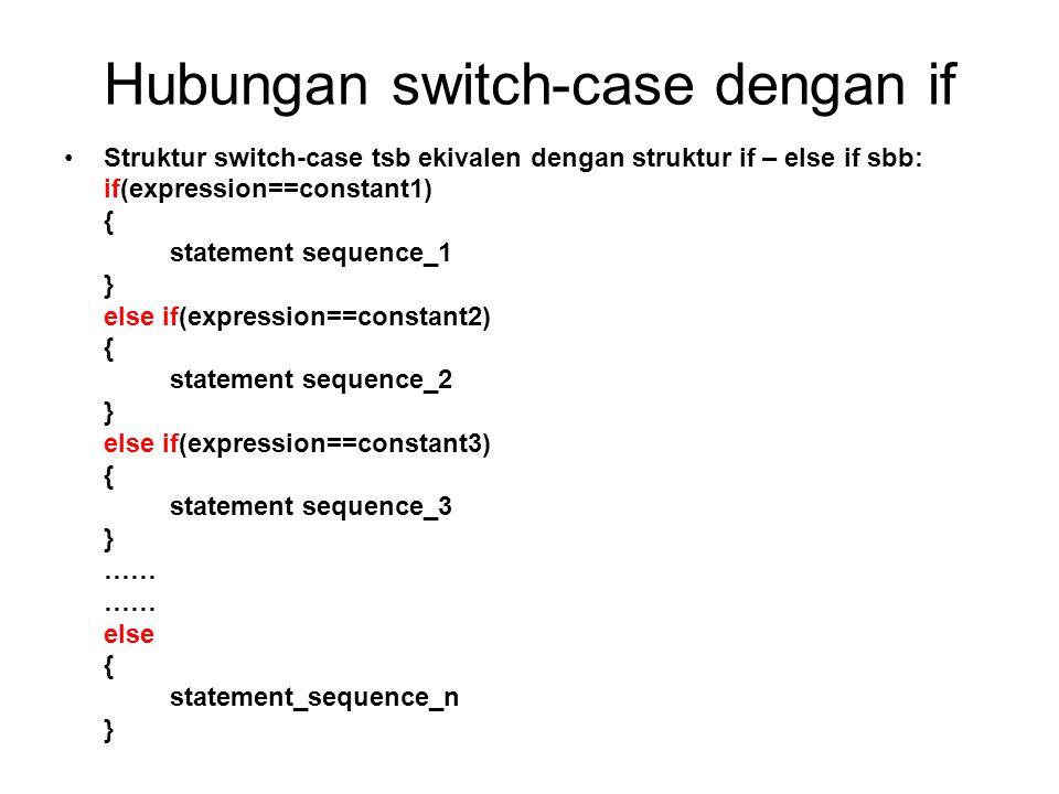 Hubungan switch-case dengan if