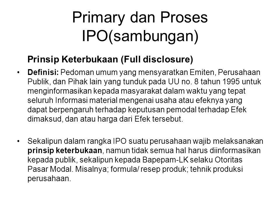 Primary dan Proses IPO(sambungan)