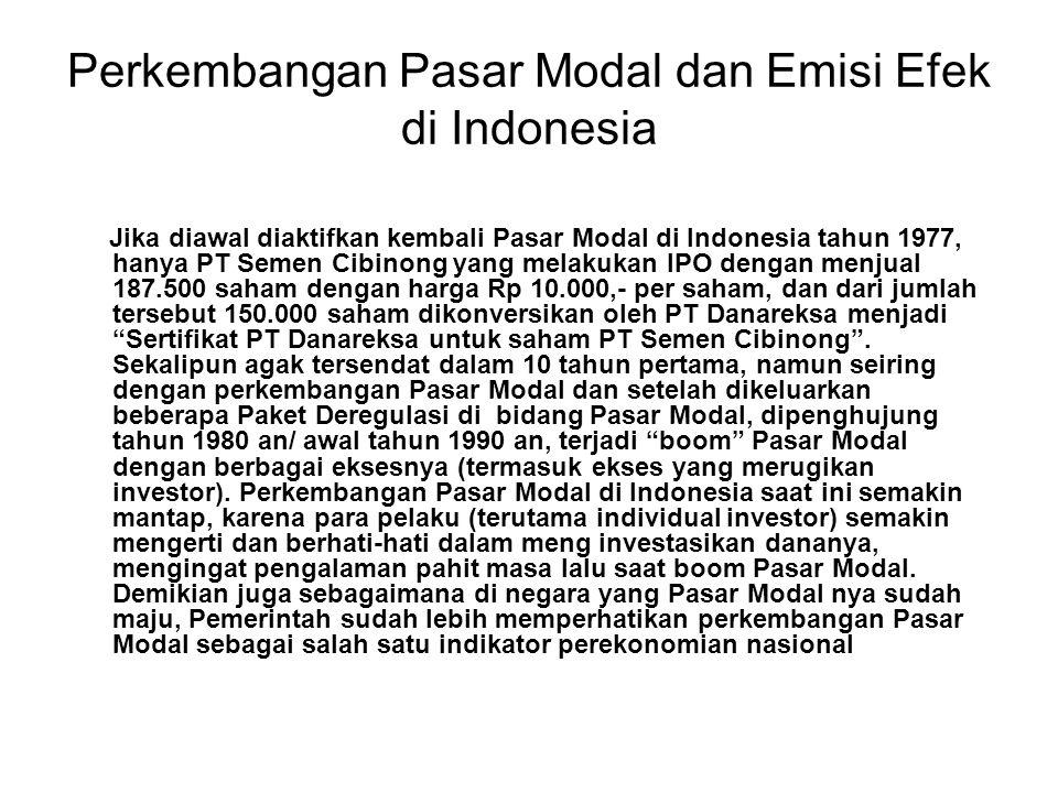 Perkembangan Pasar Modal dan Emisi Efek di Indonesia