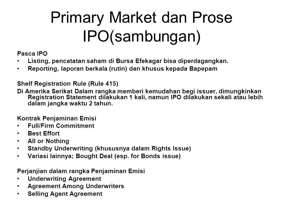 Primary Market dan Prose IPO(sambungan)