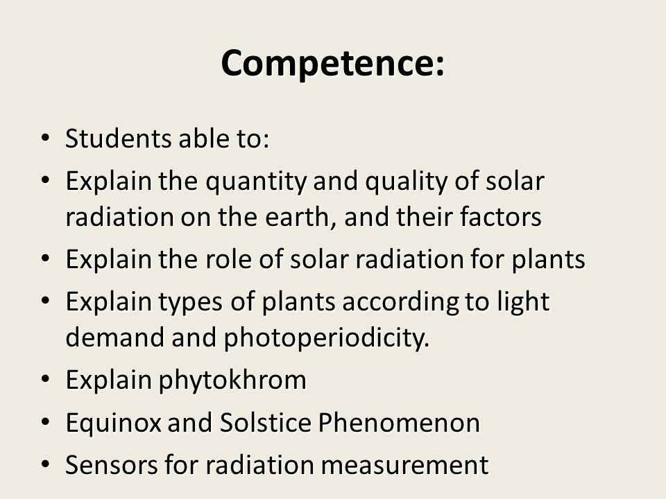 Competence: Students able to:
