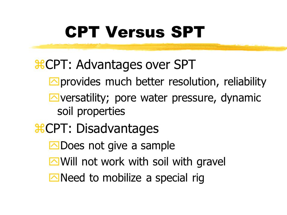 CPT Versus SPT CPT: Advantages over SPT CPT: Disadvantages