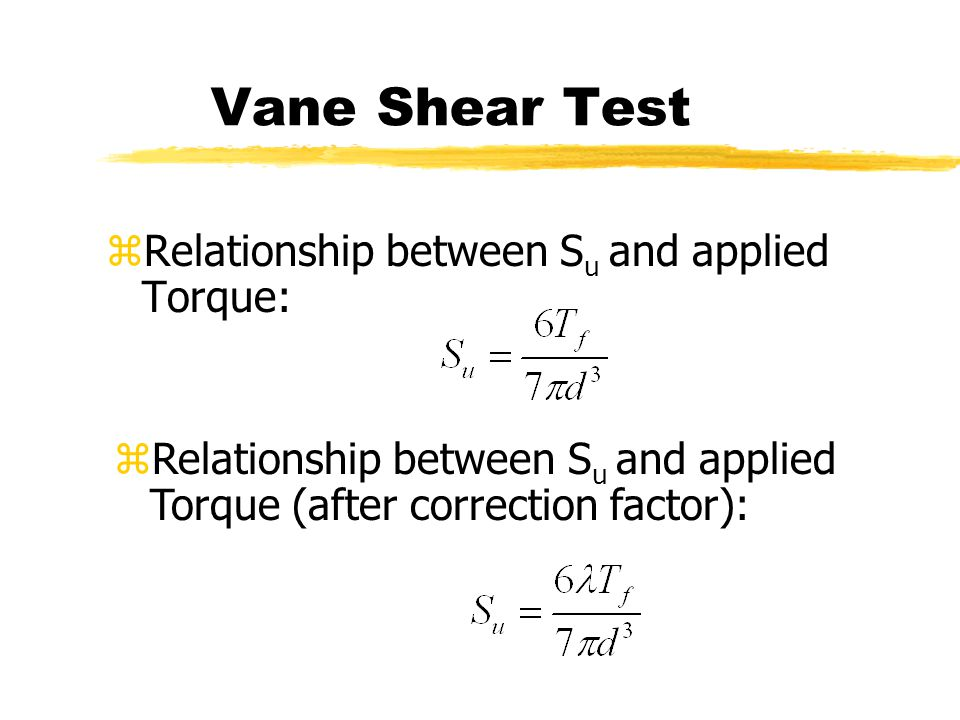 Vane Shear Test Relationship between Su and applied Torque: