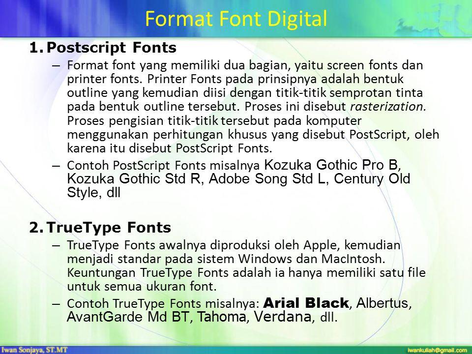 Format Font Digital Postscript Fonts